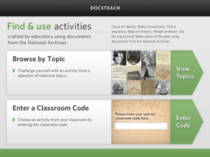Home Screen of the DocsTeach App for iPad