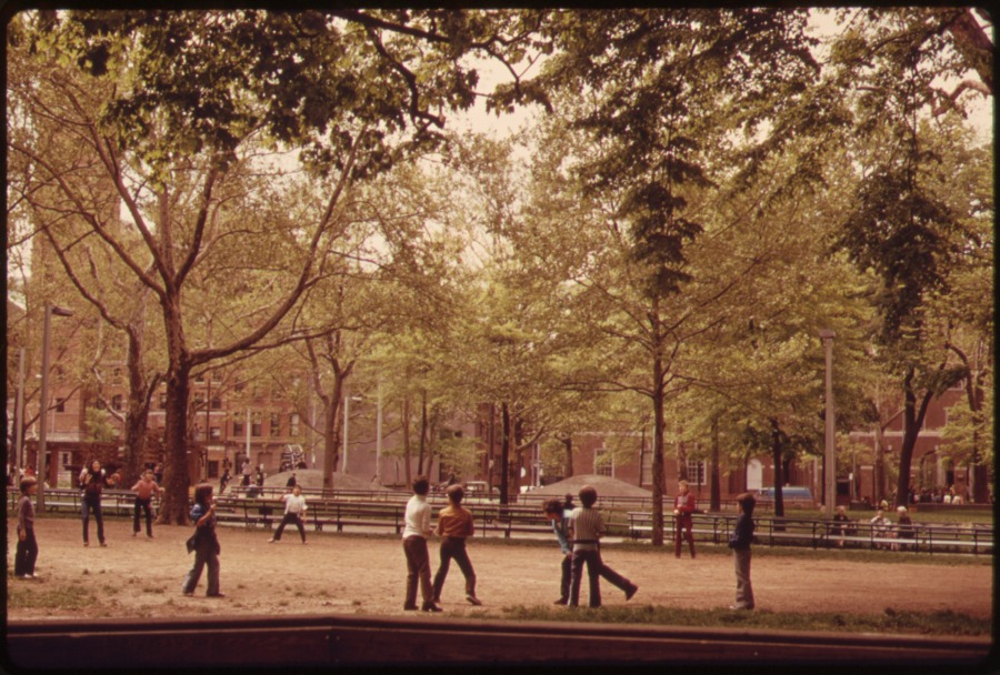 BOYS IN WASHINGTON SQUARE PARK, GREENWICH VILLAGE, LOWER MANHATTAN, 05/1973