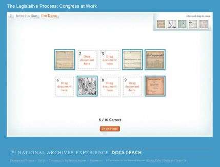 DocsTeach Legislative Process lesson screen shot