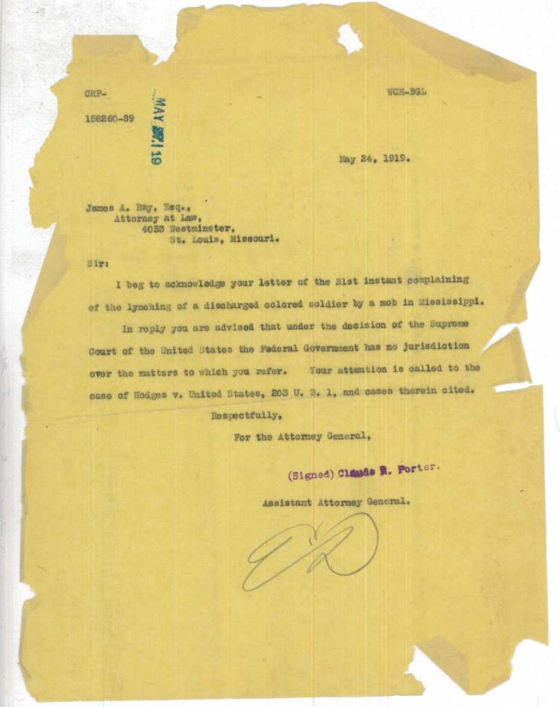 Letter from the Assistant Attorney General Regarding Lynching
