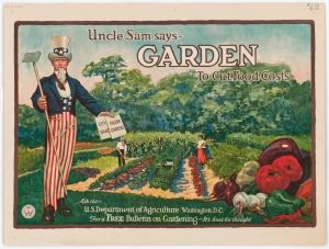 Poster of Uncle Sam Says Garden to Cut  Costs