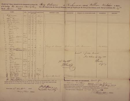Slave Manifest for the Brig Orleans, including Solomon Northup, listed as Plat Hamilton (#33).