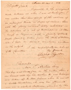 Letter from Elisha Tyson regarding kidnapped free blacks, December 5, 1811, page 1.
