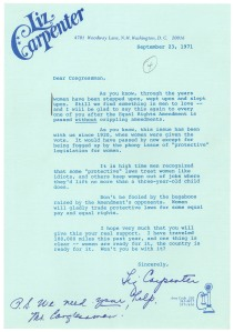 Letter from Liz Carpenter in support of ERA, September 23, 1971.  Records of the U.S. House of Representatives.
