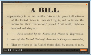 Screen Shot of Sumner Civil Rights Bill in DocsTeach Activity