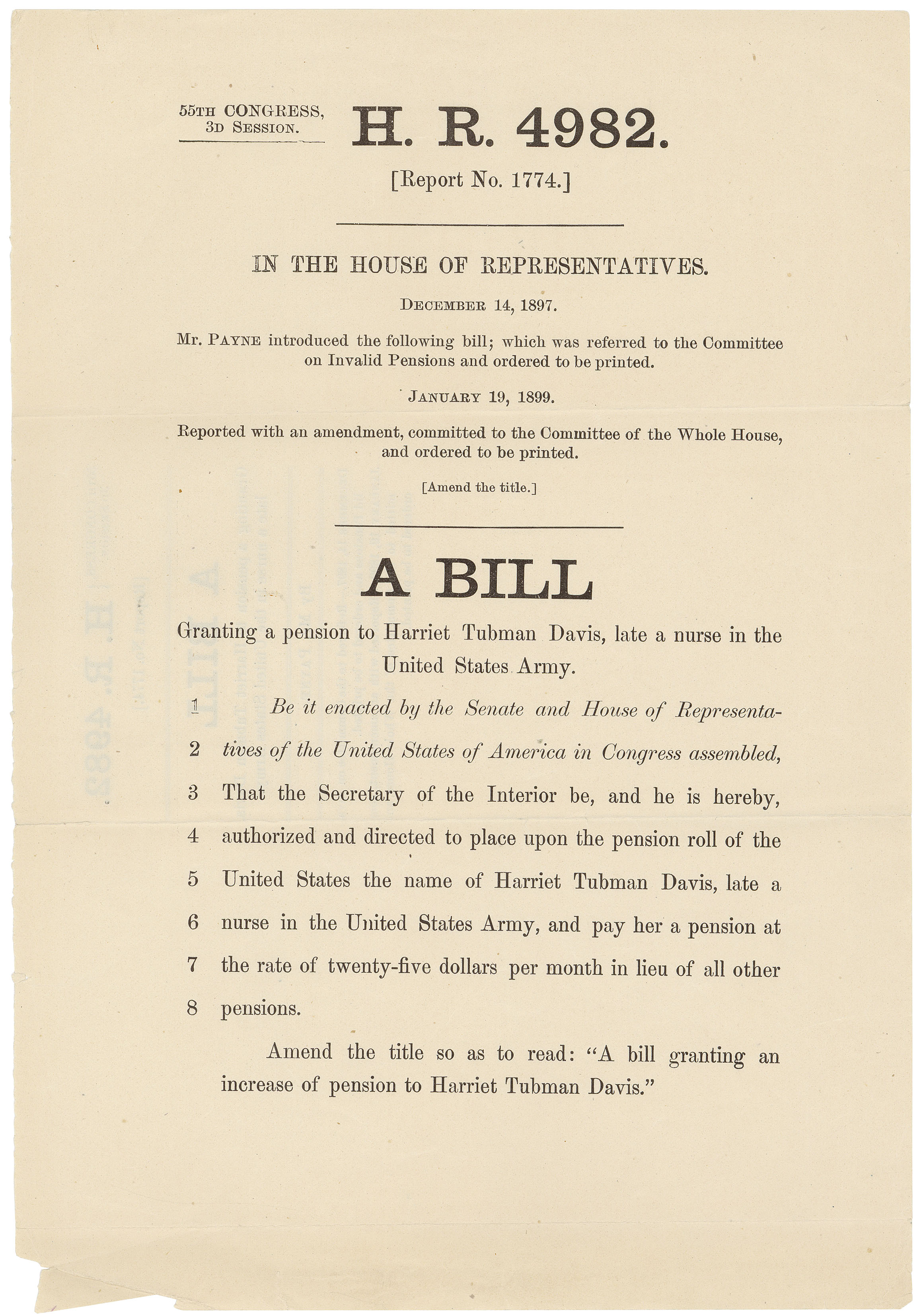 worksheet Harriet Tubman Worksheets congress and harriet tubmans claim for a pension education updates h r 4982 bill granting to tubman davis january 19