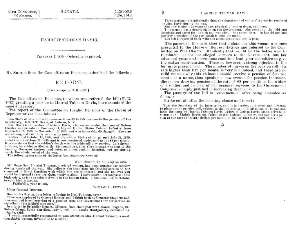 S. Rpt. 1619 to accompany a bill granting a pension to Harriet Tubman Davis, February 7, 1899; Records of the U.S. House of Representatives, National Archives Identifier 7330232