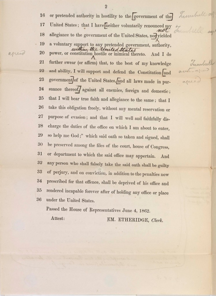 Iron Clad Test Oath bill, June 5, 1862. Records of the U.S. Senate, National Archives