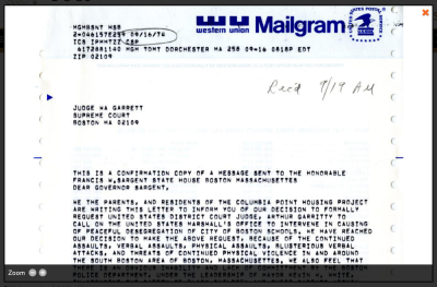 Western Union Mailgram Document