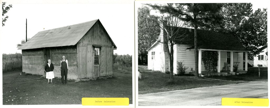photographs of dwellings before and after relocation.