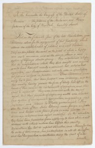 Petition of mechanics and manufacturers of the City of New York, page 1, April 18, 1789; Records of the U.S. Senate. Transcript.