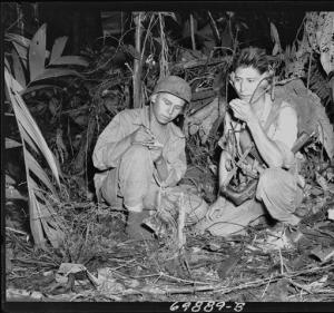 Photograph of Navajo Indian Code Talkers Henry Bake and George Kirk, 12/1943
