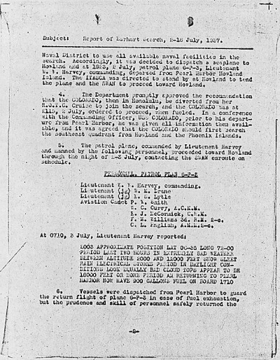 U. S. Navy Report of the Search for Amelia Earhart. Archives Identifier 305240