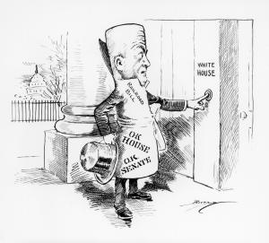 "A rolled up ""railroad bill"" caricature, with top hat in hand and O.K. stamps from the House and Senate, rings the White House doorbell."