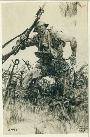 Doughboy Fighting through Barbed Wire Entanglement, 12/21/1918. From the Records of the Office of the Chief Signal Officer. National Archives Identifier 12060634.