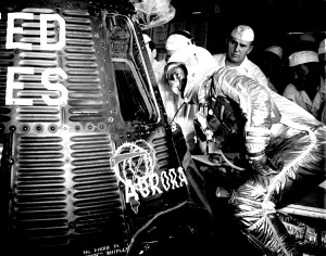 Astronaut Scott Carpenter Looking inside his Aurora 7 Spacecraft