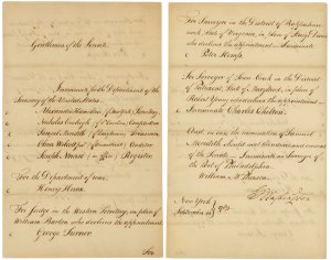 George Washington's nomination of Alexander Hamilton and others
