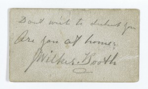 Calling Card of John Wilkes Booth