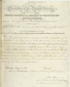 "Proposed constitutional amendment that would have prevented Congress from passing legislation interfering with a state's ""domestic institutions . . . including that of persons held to labor or service."""