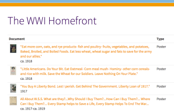 The WWI Homefront
