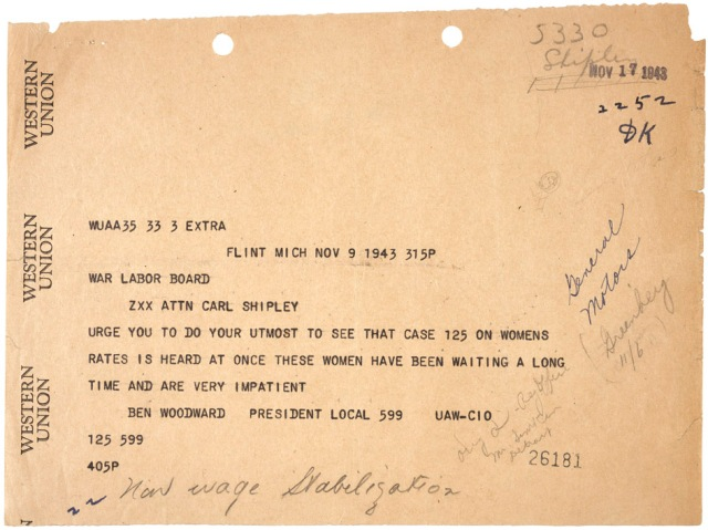 Telegram from Ben Woodward to Carl ShipleyNovember 9, 1943 07646_2007_001