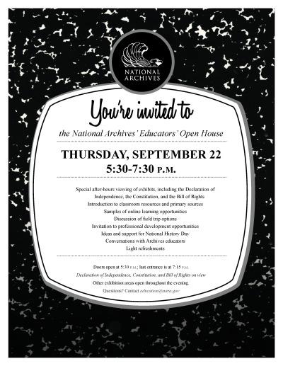 Education Open House on Thursday, September 22, 5:30-7:30pm