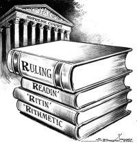 Books saying Ruling, Readin', 'ritin', 'Rithmetic