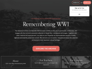Remembering WWI App Welcome screen